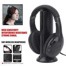 5 In 1 Wireless Kabellos FN/RF Kopfhörer Headset mit Mikrofon für PC TV Radio FI