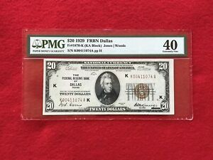 FR-1870K 1929 Series $20 Dallas Federal Reserve Bank Note *PMG 40 Extremely Fine