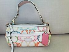 COACH☆PINK GRAPHIC SCRIBBLE LOGO☆BARREL BAG☆WHITE LEATHER TRIM☆EXCE. COND!