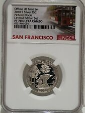 2018-S Pictured Rocks Silver Quarter Limited Edition Set NGC PF70 Ultra Cameo
