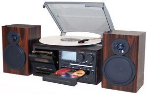 Boytone BT-28MB 3-Speed Bluetooth Turntable, Record Player, CD, cassette, AM,FM