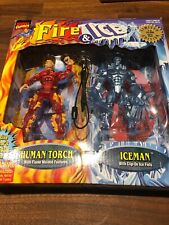 TOYBIZ MARVEL COMICS FIRE & ICE - HUMAN TORCH AND ICEMAN FIGURES 1 OF 24,000