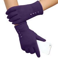 Women Cashmere Autumn Winter Warm Mittens Touch-Screen Full Finger Wrist Glove