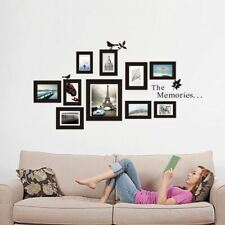 10x Picture Photo Frame Set Wall Mural Black Wedding Photos Frames Sticker Decal