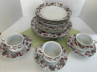 18 Pc Reed & Barton China Berry & Vine Dinnerware Soft Purples Greens MINT!