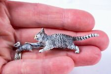 Dollhouse Miniatures ~ Hand Painted Pewter Cat w/ Whiskers Chasing a Mouse