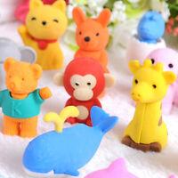 20pcs Cute Animal Rubber Pencil Eraser Set Stationery Novelty Children Party  UK