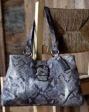 COACH~$428~*EXOTIC PYTHON*gray SHOULDER BAG Rare~SILVER Tote BLACK Leather