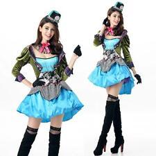 New Ladies Mad Hatter Fancy Dress Up Halloween Party Alice In Wonderland Costume