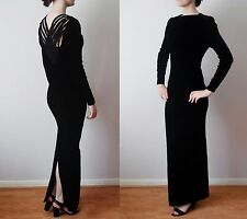 vintage NINA RICCI velvet maxi full length evening gown dress/lattice back FR40