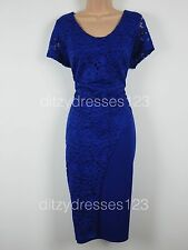 BNWT So Fabulous Cobalt Blue Lace Wrap Effect Pencil Dress Size 24 RRP £57