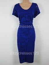 BNWT So Fabulous Cobalt Blue Lace Wrap Effect Pencil Dress Size 24 RRP £57