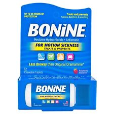 New Bonine Motion Sickness Chewable Tablets Raspberry Flavored 12 Ct.
