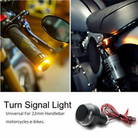2PCS Motorcycle Turn Signal LED Light Indicator Handle Bar End Handlebar Amber