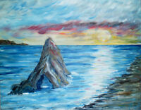 seascape SUNSET at KEYHOLE ROCK BEACH 16x20 oil painting canvas original CROWELL