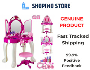Girls Dressing Table Vanity Mirror Play Set Toy Make Up Desk With Stool Pink New