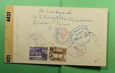 DR WHO 1943 PERU LIMA US AVIATION MISSION TO USA CIVIL CENSORED  f52406