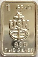 "UNITED STATES NAVY - 1 GRAM .999 PURE/SOLID SILVER BULLION ART-BAR - "" U.S.N."""