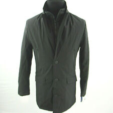$395 Tommy Hilfiger Black Modern-Fit Robert Raincoat Coat...