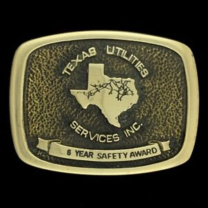 Vtg 70s Texas Utilities Services Employee Award 6 Years Brass Belt Buckle