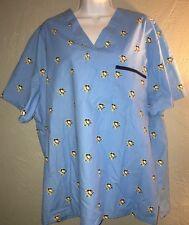 Pittsburgh Penguins NHL Blue Scrub Top Size L Large. Nurse Medical Tech Vet
