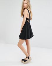 New Pull & Bear Women's Black Cross Back Pinny Skater Dress Size Small Free Gift