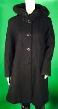 Charles Klein Black Faux Fur Trim Hooded Full Length Peacoat Size 12 100% Wool
