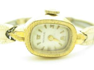 Vintage Benrus 14k Yellow Gold Wind Up Estate Watch With Gold Filled Bracelet