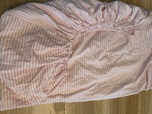 Vintage Martha Stewart Pink White Striped Stripe Fitted Sheet Twin XL Cotton