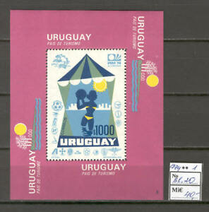 Soccer 1974 A90 Uruguay block World Cup CV 40 eur tourism