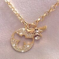18k yellow gold made with Swarovski crystal 3D buzzy bee pendant chain necklace