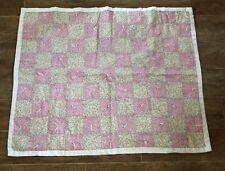 "Handmade baby blanket quilt pink 43"" knit lap reborn doll crib bedding"