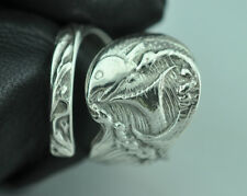 Beautiful 925 Sterling Silver Twin Fish Spoon Ring