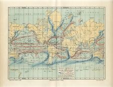 1895 WORLD MARINE SEA CURRENTS Antique Map