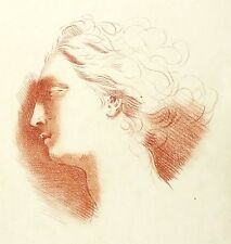 SOPHIE DA ROTH FEMMINILE TESTA NELLA PROFILO Illustrazione di gesso rosso 1859