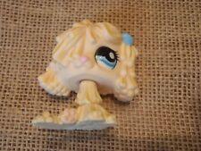 Littlest Pet Shop Yellow Mop Dog with Blue Bow #1257 Sheepdog Komondor