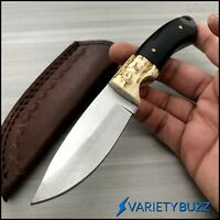 "7"" Full Tang Hunting Skinner Fixed Blade BUFFALO HORN STAG Knife LEATHER SHEATH"