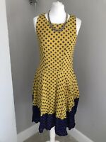 H&M Ladies Dress Size 8 Mustard Blue Floral Print Sleeveless Fit & Flare Lined
