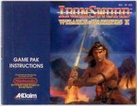Iron Sword Wizards and Warriors II Original Nintendo NES Manual
