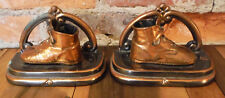 VTG Bronze Copper Laced Baby Shoe Metal Bookends Pair 30s Era Daugherty Family