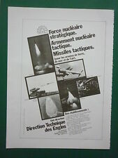 1981 PUB DTEN ARMEMENT NUCLEAIRE MISSILE LRBA CEL CEM MSBS SSBS PLUTON FRENCH AD