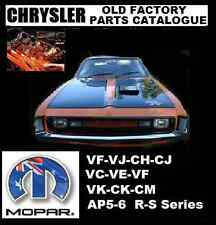 CHRYSLER VALIANT  CHARGER  REGAL FACTORY PARTS CATALOGUE VJ VH VF VK CJ CH CK