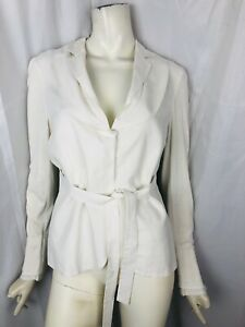BRUNELLO CUCINELLI size 46 off-white long-sleeve cotton blouse top