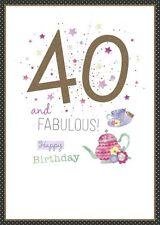 Carte D'Anniversaire Femme Âge 40 Ans et Fabuleux 40th Anniversaire Wishing Well