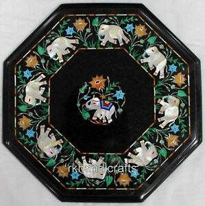 12 Inches Marble Coffee Table Top Elephant Design Side Table Inlay MOP Stone