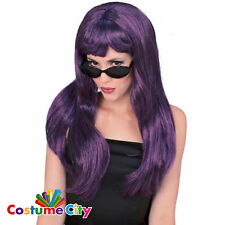 "Adult 24"" Long Dark Purple 1980s Halloween Glamour Fancy Dress Witch Fringed Wig"