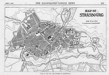 1870 FRANCO GERMAN WAR:  MAP OF STRASBOURG Fortress military (101a)