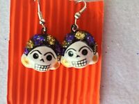 FRIDA KAHLO GLITTERED SKELETON  EARRINGS - DAY OF THE DEAD JEWELRY - MEXICO
