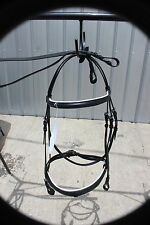 Premium black  horse size English bridle & grip reins WHITE PADDED BROW & NOSE
