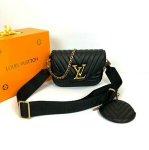 Louis Vuitton New Wave Multi Pochette Black Leather For Women PRE OWNED With Box